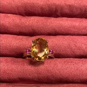 💖💛Oval Citrine Ring w/Pink Topaz Side Stones💛💖